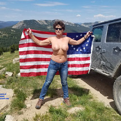 Stripping On A Mountain For July 4th - Nude Amateurs, Big Tits, Brunette, Outdoors, Nature, Bush Or Hairy