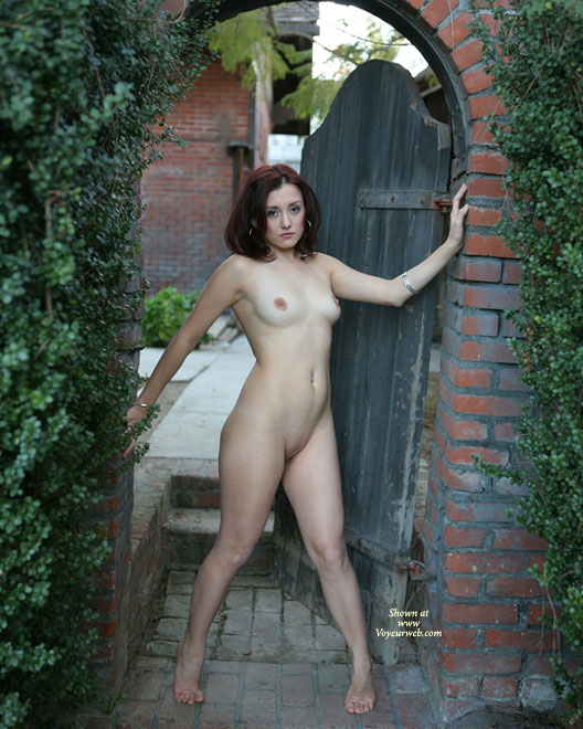 Naked At Patio Gate - Dark Hair, Nude In Public, Perfect Tits, Red Hair, Shaved Pussy, Naked Girl, Nude Amateur , Nude Art, Nude In Garden Doorway, Public Nudity, Standing In A Doorway, Outside Naked, Green Hedges, Curvy, Red Bricks, Dark Red Hair, Framed In Archway