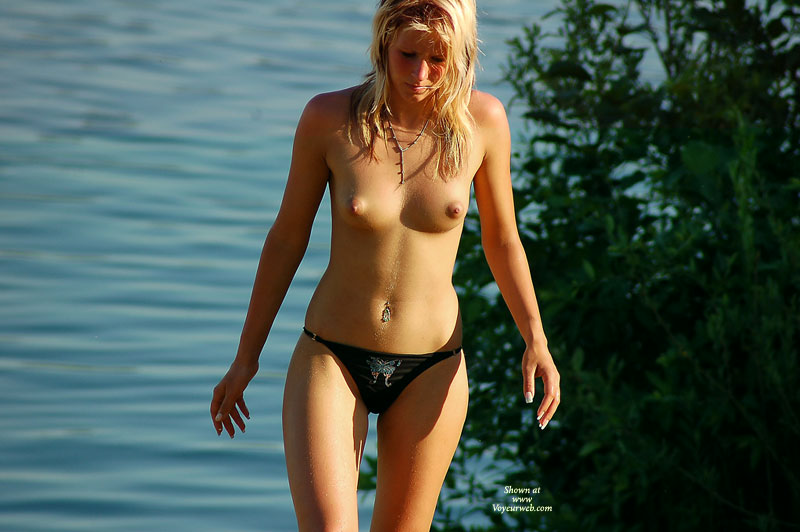 Beach Voyeur - Blonde Hair, Hard Nipple, Small Tits, Topless, Beach Voyeur , French Nails, The Boobs Are Out, Black Bikini Bottom, Black Panty With Butterfly, Nice Tits, Pierced Naval, Hard Body, Hard Erect Nipples, Puffy Areolas, Navel Piercing, Hot Blonde At Beach, Hour Glass Figure, Topless Beach Bunny, Standing In Front Of A Lake