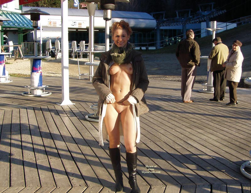 Flashing Tits And Pussy In Public - Flashing, Nude In Public, Red Hair, Naked Girl, Nude Amateur , Black Leather Knee High Pointed Toe Boots, Black High Heel Boots, Kakhi Scarf,bronish Winter Jacket, Open Knitted Knee Length Dress, Standing Frontal Nude, Public Show, Jacket And Scarf With Nothing Underneath Flashing, Curly Red Hair, Nothing Under The Coat, Open White Dress