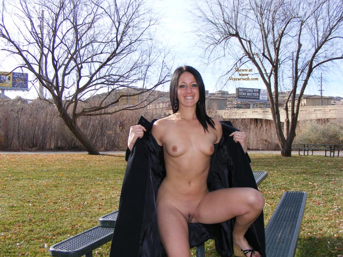 Sitting On Picnic Table - Small Tits, Spread Legs, Trimmed Pussy , Legs Apart, Full Frontal Flash, Holding Coat Off Shoulders, Seated On Picnic Table, Naughty Smile, Naked Outdoors